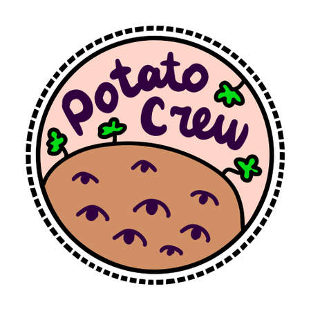 Potato crew hand drawn vector vegan logotype in cartoon comic style eyes