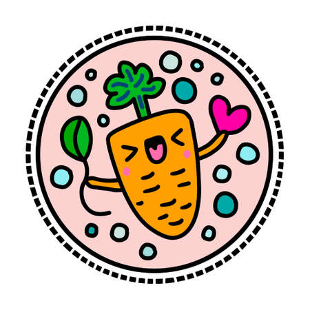 Happy carrot hand drawn vector logotype sticker in cartoon comic style 向量圖像