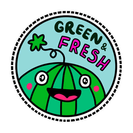 Green fresh vegan logotype in cartoon comic style smiling watermelon expressive