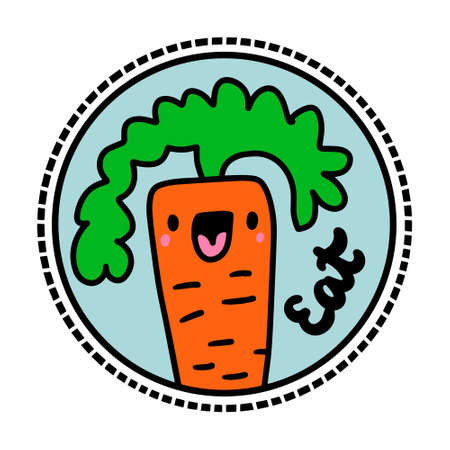 Eat hand drawn vector vegan logotype in cartoon comic style happy plant