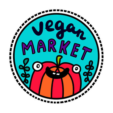 Vegan market hand drawn vector illustration in cartoon doodle stye smiling expressive pepper 向量圖像