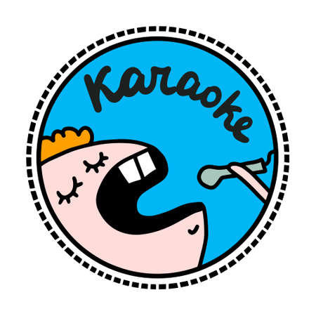 Karaoke hand drawn vector illustration in cartoon doodle style 向量圖像