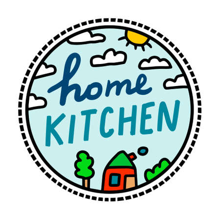 Home kitchen hand drawn vector illustration in cartoon doodle style