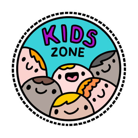 Kids zone hand drawn vector illustration in cartoon doodle style
