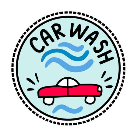 Car wash service hand drawn vector illustration in cartoon doodle style