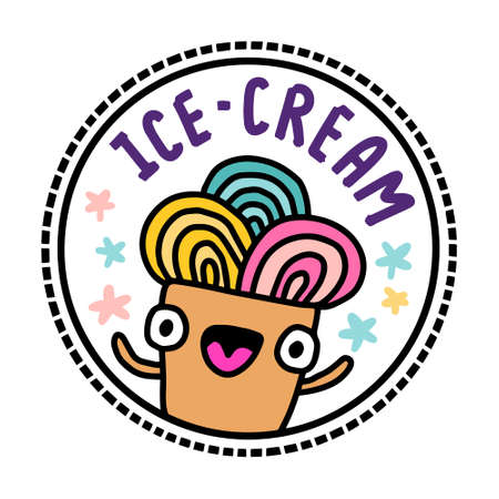Ice cream dessert hand drawn illustration in cartoon doodle style