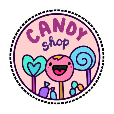 Candy shop hand drawn vector illustration in cartoon doodle style
