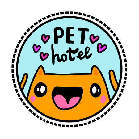 Pet hotel hand drawn vector illustration in cartoon doodle style 向量圖像