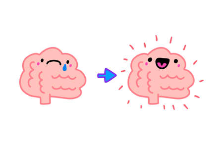 Brain expressive before psychotherapy and after happy cheerful hand drawn vector illustration in cartoon doodle style