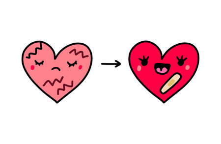 Broken heart before and after psychotherapy hand drawn vector illustration in cartoon comic style