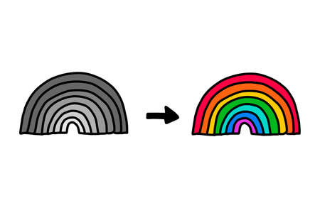 Before and after rainbow hand drawn vector illustration in cartoon doodle style