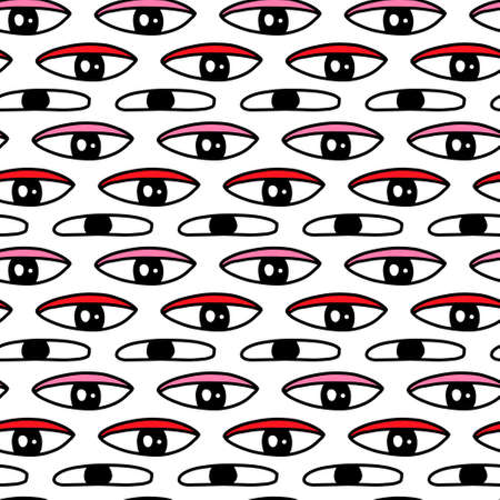 Long eyes hand drawn vector seamless patterin in cartoon doodle style 向量圖像