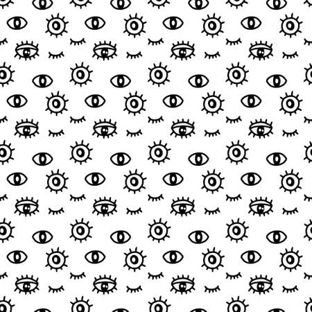 Open closed eyes with lashes hand drawn seamless pattern in cartoon doodle style black white contrast
