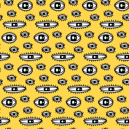 Open eyes with lashes hand drawn seamless pattern in cartoon doodle style black white contrast yellow background 向量圖像