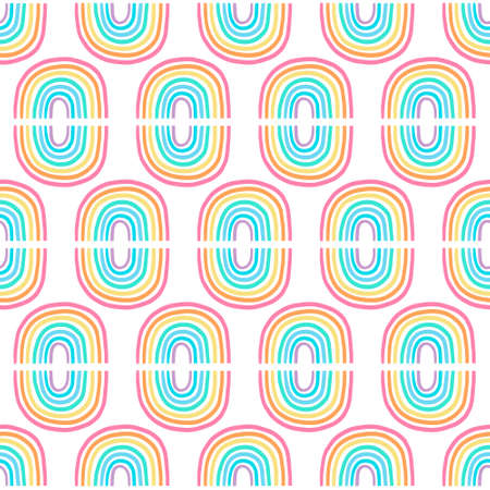 Pastel rainbows hand drawn vector seamless pattern in cartoon comic style