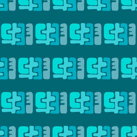 Turquoise abstract forms seamless pattern in cartoon doodle style