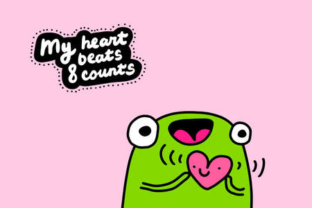 My heart beats eight counts hand drawn vector illustration in cartoon doodle style frog happy holding symbol smiling Иллюстрация