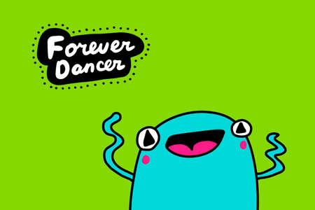 Forever dancer hand drawn vector illustration in cartoon doodle style frog blue cheerful