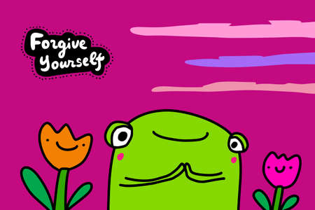 Forgive yourself hand drawn vector illustration in cartoon comic style frog cheerful with tulips