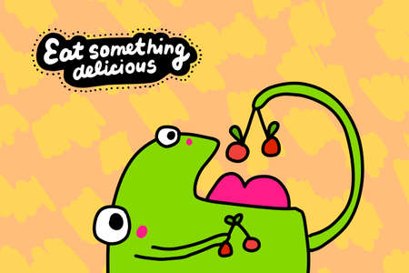 Eat something delicious hand drawn vector illustration in cartoon comic style frog and cherry Иллюстрация