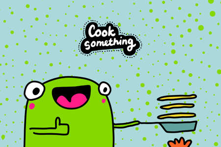 Cook something hand drawn vector illustration in cartoon comic style frog making pancakes
