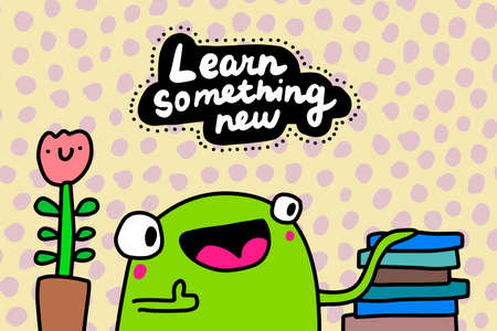 Learn something new hand drawn vector illustration in cartoon comic style frog happy reading Иллюстрация
