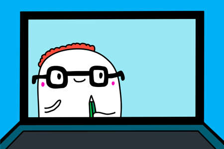 Man in glasses online course webinar hand drawn vector illustration in cartoon comic style