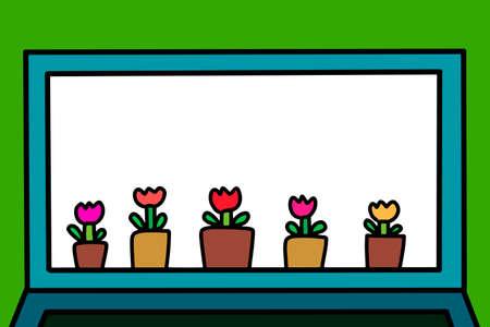 Webinar online hand drawn vector illustration in cartoon comic style flowers pots Иллюстрация