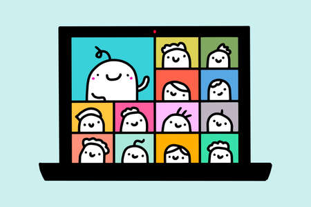 Webinar online meeting hand drawn vector illustration in cartoon comic style people together talking