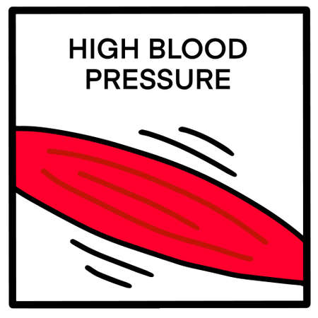 High blood pressure hand drawn vector illustration in cartoon comic style red vessel