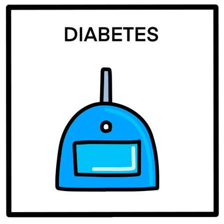 Diabetes hand drawn vector illustration in cartoon comic style sugar level monitor card Иллюстрация