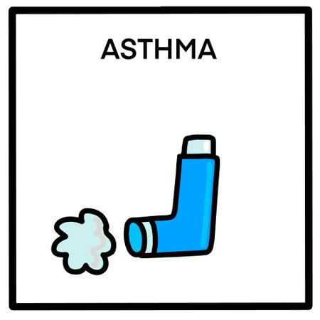 Asthma hand drawn vector illustration in cartoon comic style inhaler card Иллюстрация
