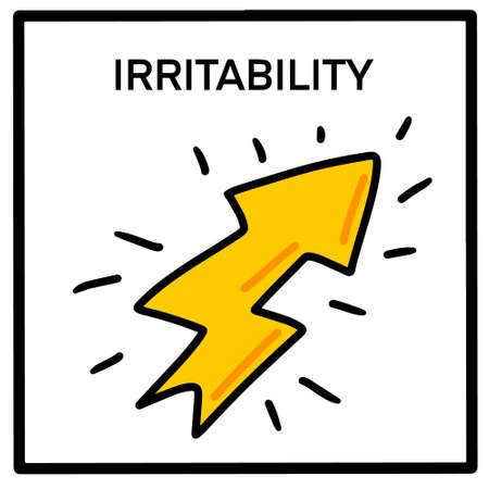 Irritability hand drawn vector illustration icon in cartoon comic style Иллюстрация