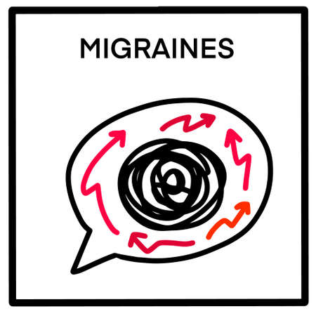 Migraines hand drawn vector illustration icon in cartoon comic doodle style arrows thoughts speech bubble Иллюстрация