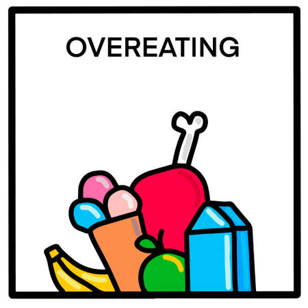 Overeating hand drawn vector illustration in cartoon doodle style food yummy Иллюстрация