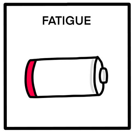Fatigue hand drawn vector illustration in cartoon comic style battery with low energy power Иллюстрация