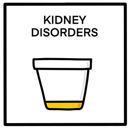 Kidney disorders hand drawn vector illustration in cartoon doodle style icon analysis card
