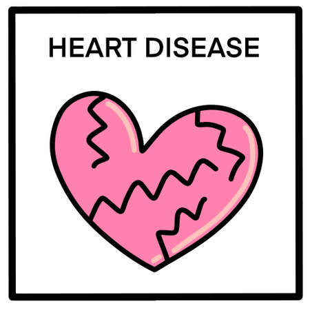 Heart disease hand drawn vector illustration in cartoon doodle style icon symbol Иллюстрация