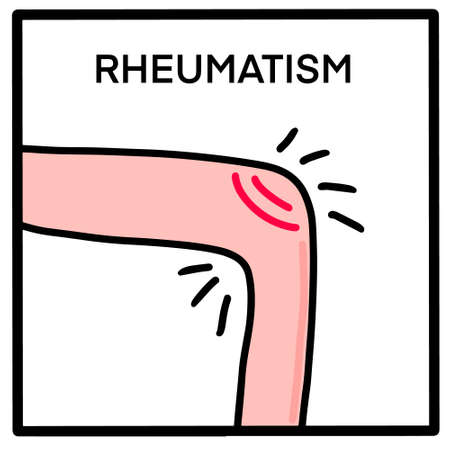 Rheumatis hand drawn vector illustration icon in cartoon doodle style knee with pain Иллюстрация