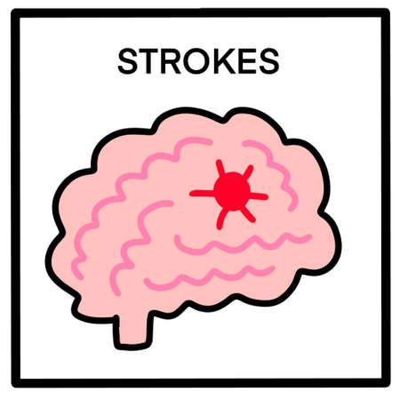 Strokes hand drawn vector illustration in cartoon doodle style brain with injury Иллюстрация