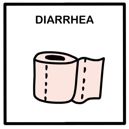 Diarrhea hand drawn vector illustration icon in cartoon doodle style covid-19 coronavirus symptom