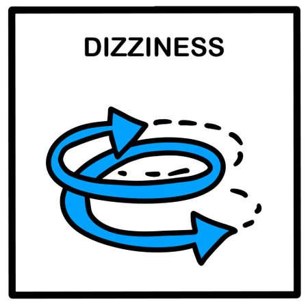 Dizzyness hand drawn vector illustration icon in cartoon doodle style arrows covid-19 coronavirus symptom pandemic