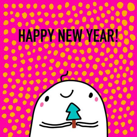Happy new year hand drawn vector illustration in cartoon doodle style man happy holding pine tree Иллюстрация
