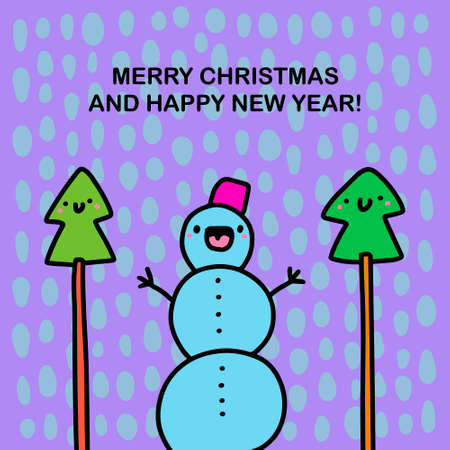 Merry christmas and happy new year hand drawn vector illustration in cartoon doodle style snowman smiling pine trees