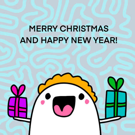 Merry christmas and happy new year hand drawn vector illustration in cartoon doodle style man happy holding presents Иллюстрация