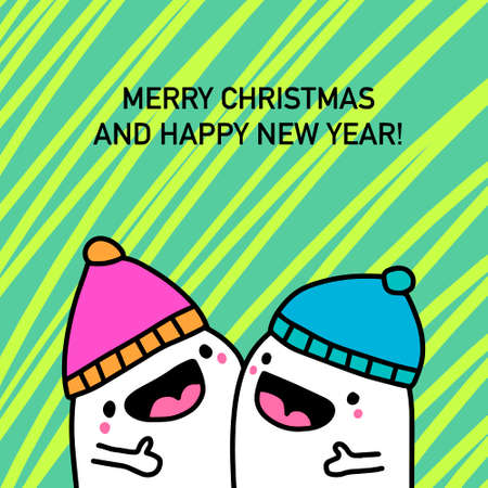 Merry christmas happy new year couple together hand drawn vector illustration in cartoon doodle style