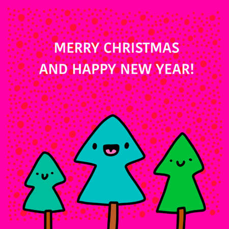 Merry christmas and happy new year hand drawn vector illustration in cartoon doodle style