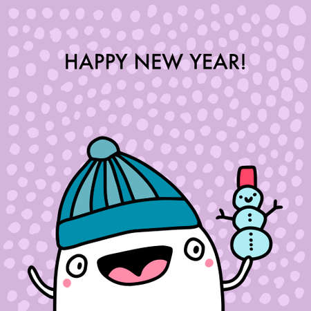 Happy new year hand drawn vector illustration in cartoon doodle style