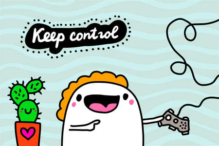 Keep control hand drawn vector illustration in cartoon doodle style man expressive playing video games