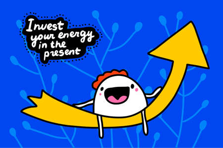 Invest your energy in present hand drawn vector illustration in cartoon doodle style man expressive sitting flash light arrow Иллюстрация